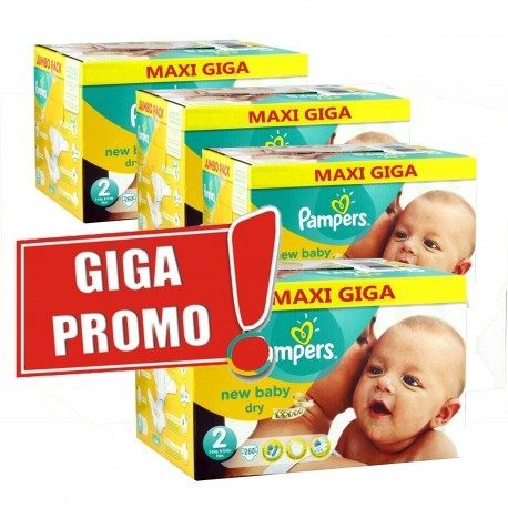 Maxi mega pack 480 Couches Pampers New Baby Dry taille 2 sur Promo Couches