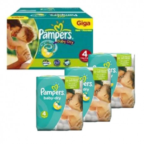 Maxi giga pack 330 Couches Pampers Baby Dry taille 4 sur Promo Couches
