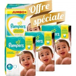 Mega pack 168 Couches Pampers New Baby Premium Protection taille 4+ sur Promo Couches