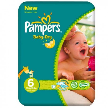 Pack 31 Couches Pampers Baby Dry taille 6 sur Promo Couches