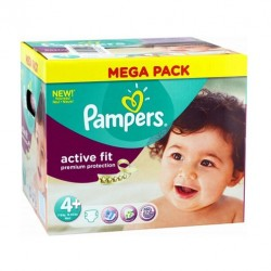 Pack de 250 Couches de Pampers Active Fit taille 4+ sur Promo Couches