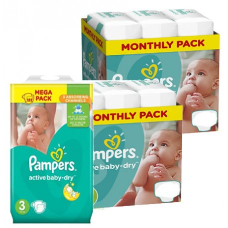 Maxi mega pack 406 Couches Pampers Active Baby Dry taille 3 sur Promo Couches