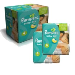 Giga pack 207 Couches Pampers Baby Dry taille 4