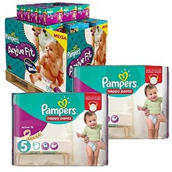 Mega pack 187 Couches Pampers Active Fit Pants taille 5