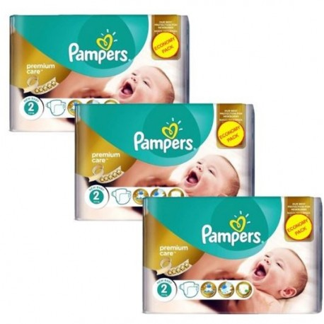 Mega pack 198 Couches Pampers New Baby Premium Care taille 2 sur Promo Couches