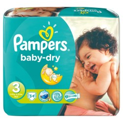 Pack 34 Couches Pampers Baby Dry de taille 3 sur Promo Couches