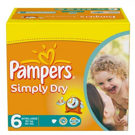 Couches pampers simply dry taille 6 en promotion 62 couches sur promo couches - Couches pampers en promo ...