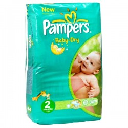 Pack 70 Couches de la marque Pampers Baby Dry taille 2 sur Promo Couches