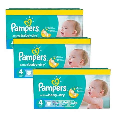 Mega pack 140 Couches Pampers Active Baby Dry taille 4 sur Promo Couches