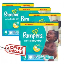Maxi giga pack 350 Couches Pampers Active Baby Dry taille 4