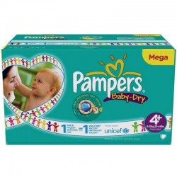 Pack 62 Couches Pampers Baby Dry taille 4+