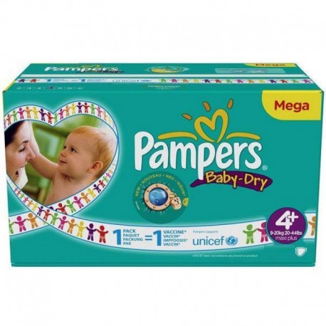 Pack 62 Couches Pampers Baby Dry taille 4+ sur Promo Couches