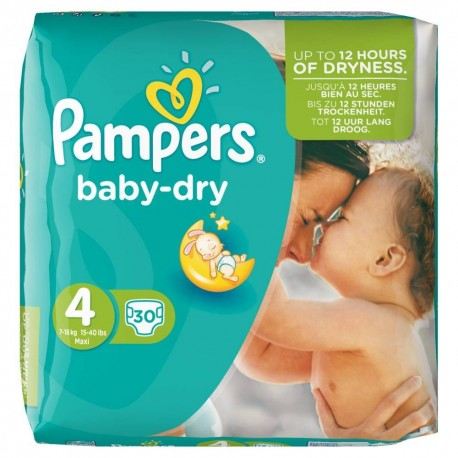 Pack 30 Couches Pampers Baby Dry de taille 4 sur Promo Couches