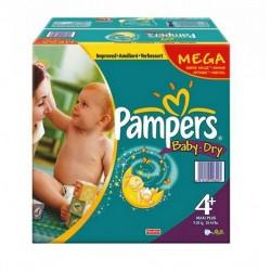 Pack d'une quantité de 328 Couches Pampers Baby Dry taille 4+ sur Promo Couches