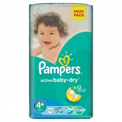 40 Couches Pampers Active Baby Dry taille 4+ sur Promo Couches