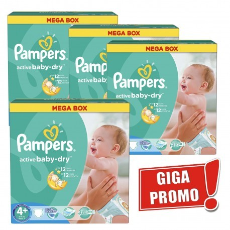 Maxi mega pack 400 Couches Pampers Active Baby Dry taille 4+ sur Promo Couches