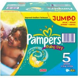 Giga pack 207 Couches Pampers Baby Dry taille 5 sur Promo Couches