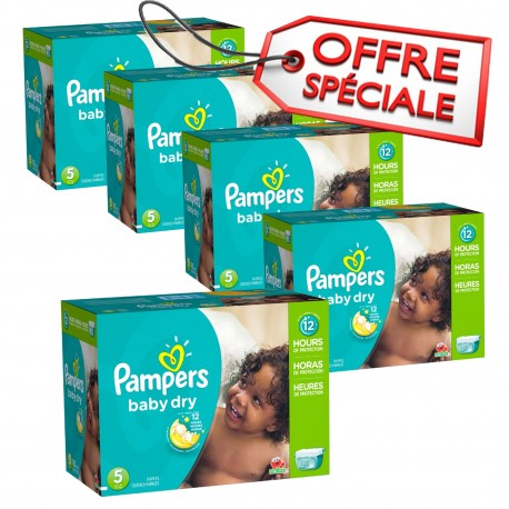 Giga pack 230 Couches Pampers Baby Dry taille 5 sur Promo Couches