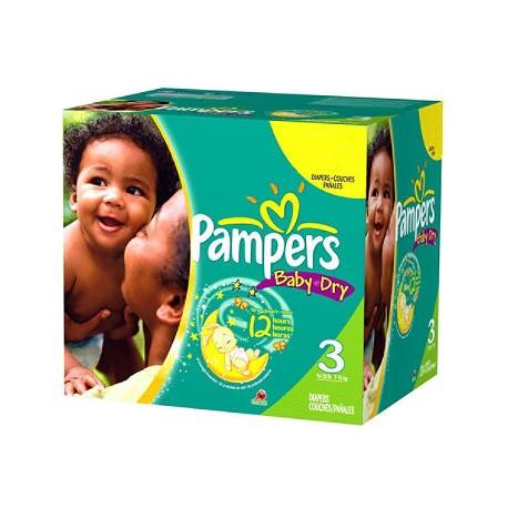 Pack d'une quantité de 360 Couches Pampers Baby Dry taille 3 sur Promo Couches