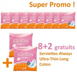 Pack économique 80 Serviettes hygiéniques Always de la gamme Ultra Thin - 10 Packs de 8 Serviettes hygiéniques de taille Long sur Promo Couches