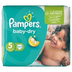 Pack 41 Couches Pampers Baby Dry taille 5 sur Promo Couches