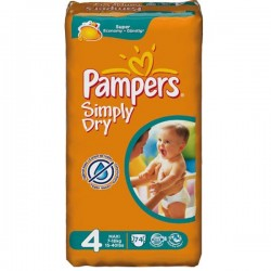 Pack de 74 Couches de Pampers Simply Dry de taille 4 sur Promo Couches