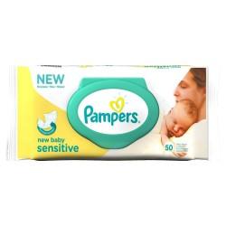 Pack d'une quantité de 50 Lingettes Bébés Pampers de la gamme New Baby Sensitive