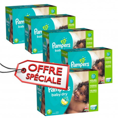 Maxi giga pack 345 Couches Pampers Baby Dry taille 5 sur Promo Couches