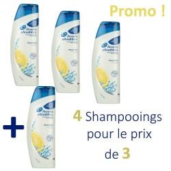 Pack 4 Shampooings Head & Shoulders Antipelliculaire Citrus Fresh - 4 au prix de 3 sur Promo Couches
