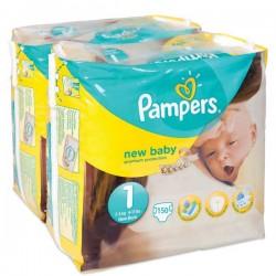 Pack d'une quantité de 150 Couches de Pampers New Baby taille 1 sur Promo Couches
