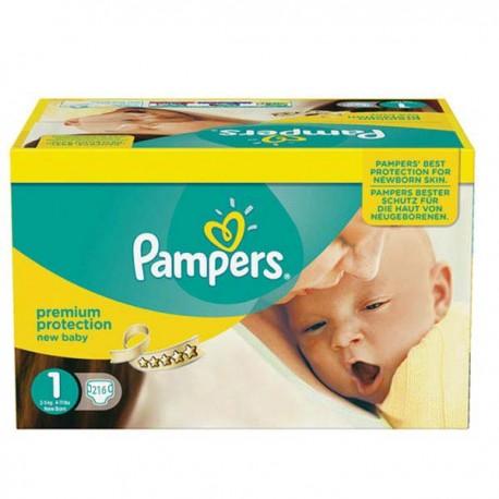 Maxi Pack d'une quantité de 216 Couches Pampers New Baby de taille 1 sur Promo Couches