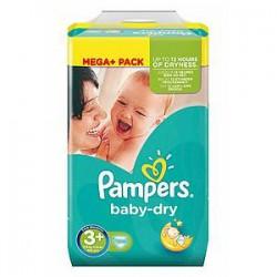 Pack d'une quantité de 328 Couches Pampers de la gamme Baby Dry taille 3+ sur Promo Couches