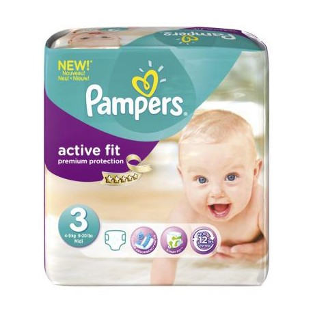 Pack 68 Couches Pampers Active Fit taille 3 sur Promo Couches