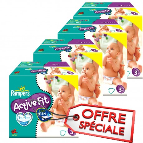 Giga pack 272 Couches Pampers Active Fit taille 3 sur Promo Couches