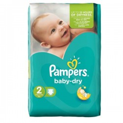 Pack 44 Couches Pampers de la gamme Baby Dry de taille 2