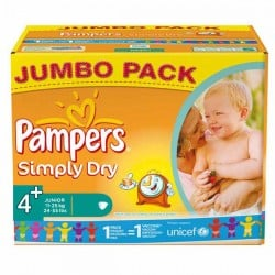 Maxi Pack 308 Couches de Pampers Simply Dry taille 4+ sur Promo Couches