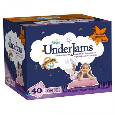 Pack 40 Sous-vêtements jetables de la marque Pampers Underjams pour Filles de taille S/M sur Promo Couches