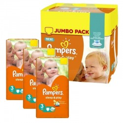 Maxi giga pack 390 Couches Pampers Sleep & Play taille 3 sur Promo Couches