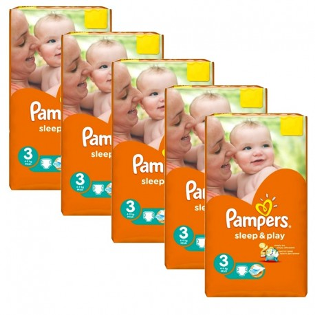 Pack jumeaux 546 Couches Pampers Sleep & Play taille 3 sur Promo Couches