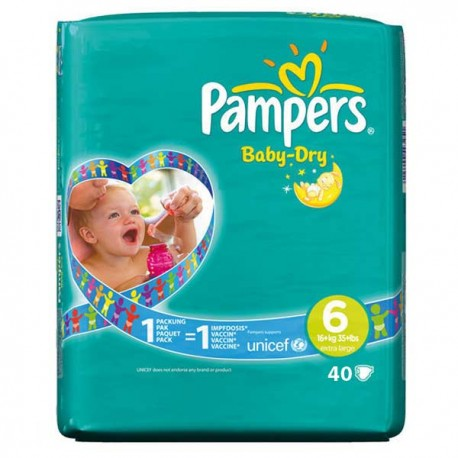 Pack 52 Couches Pampers Baby Dry taille 6 sur Promo Couches