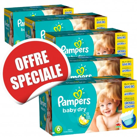 Giga pack 208 Couches Pampers Baby Dry taille 6 sur Promo Couches