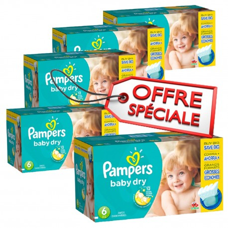Maxi giga pack 312 Couches Pampers Baby Dry taille 6 sur Promo Couches