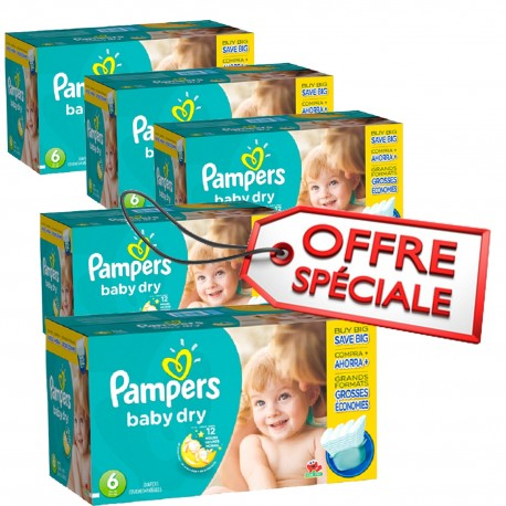 Maxi mega pack 416 Couches Pampers Baby Dry taille 6 sur Promo Couches