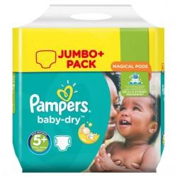 Maxi Pack d'une quantité de 240 Couches Pampers Baby Dry taille 5+ sur Promo Couches