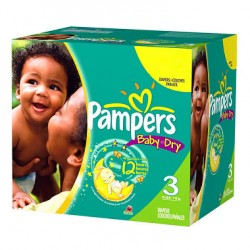 Pack économique de 300 Couches de Pampers Baby Dry taille 3 sur Promo Couches