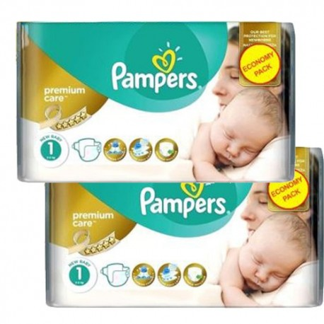 Pack jumeaux 572 Couches Pampers New Baby Premium Care taille 1 sur Promo Couches
