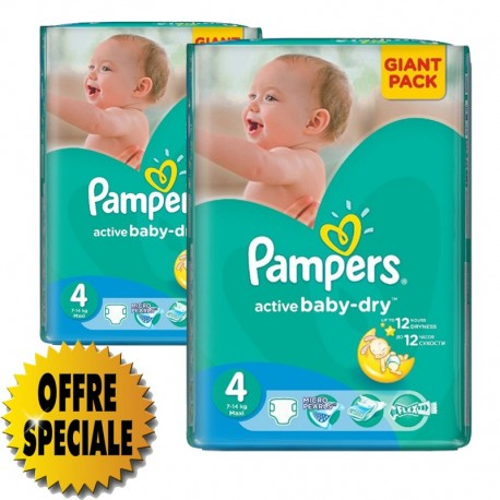 Pack 39 Couches Pampers Active Baby Dry taille 4 sur Promo Couches