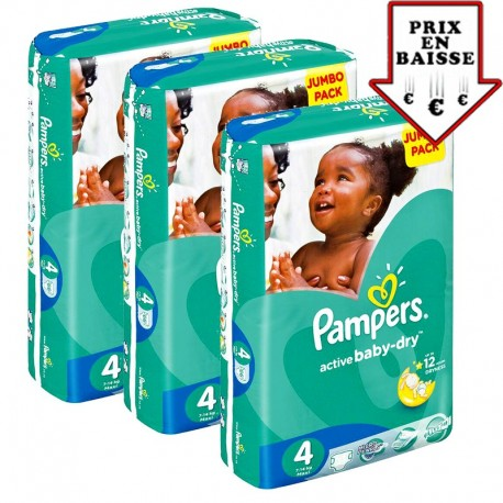 Pack 52 Couches Pampers Active Baby Dry taille 4 sur Promo Couches