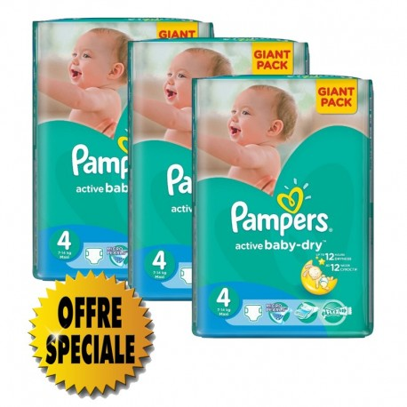 Mega pack 169 Couches Pampers Active Baby Dry taille 4 sur Promo Couches