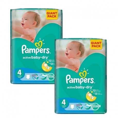 Giga pack 208 Couches Pampers Active Baby Dry taille 4 sur Promo Couches